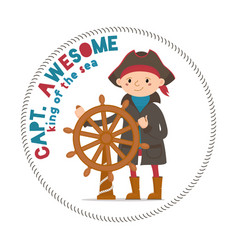 captain awesome lettering with boy sailor pirate vector image