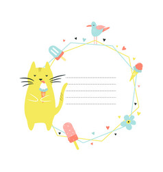 card template with funny cat eating ice cream vector image