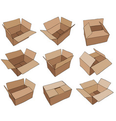 Cardboard box for design brown delivery set vector