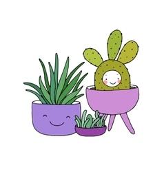 Cartoon cute succulents in pot vector