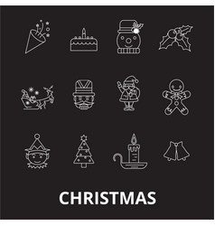 christmas editable line icons set on black vector image