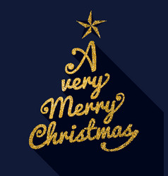 christmas gold glitter message typography quote vector image