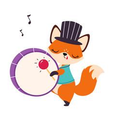 Circus fox animal in top hat beating drum vector