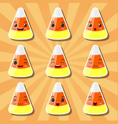 collection of cartoon candy corn smileys vector image