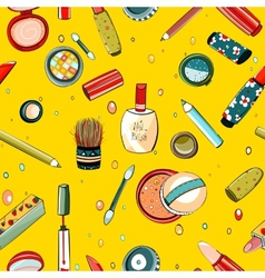 Colorful Makeup Seamless Pattern on Yellow vector image