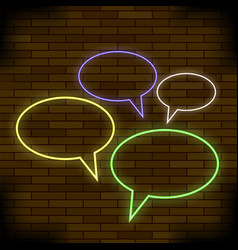 colorful speech bubbles on brick background vector image