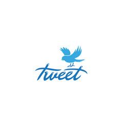 creative blue bird text tweet logo symbol vector image