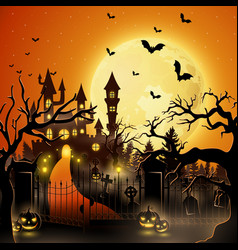 creepy tomb with castle and pumpkin vector image