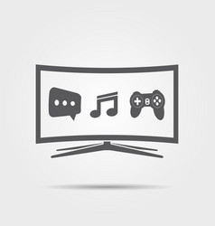 curved smart tv icon vector image