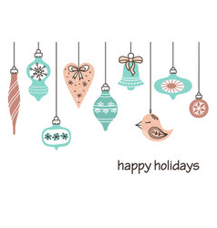 cute retro christmas decorations vector image