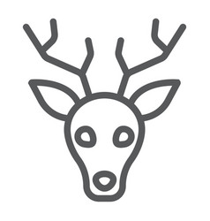 Deer line icon animal and zoo stag sign vector