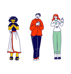 Diverse people group stand in row holding palm on vector