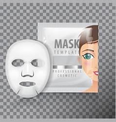 facial sheet mask with sachet mock up vector image