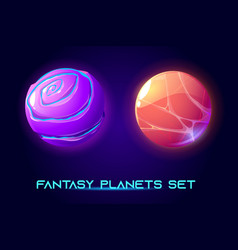 Fantastic space planets for ui galaxy game vector