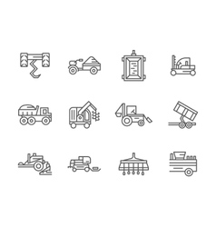 Farm machinery black line icons vector image