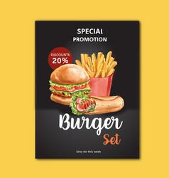 Fast food restaurant poster design for decor vector