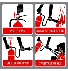 Fire extinguisher instruction vector