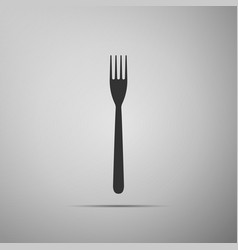 Fork flat icon on grey background vector