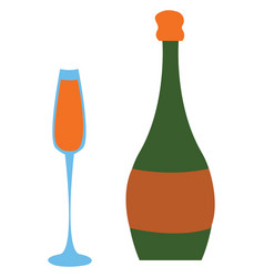 full champagne glass and green champagne bottle vector image