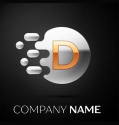 gold letter d logo silver dots splash vector image