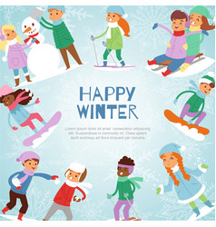 happy winter kids games outdoor with snow vector image