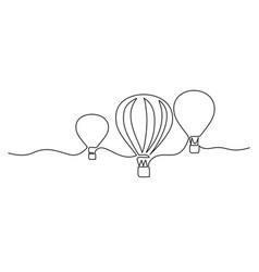 hot air balloons flying in sky sign continuous vector image