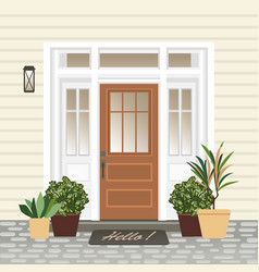 house door front with doorstep and mat steps vector image