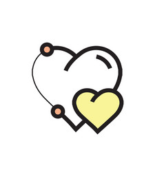Icon heart pen tool style design yellow vector