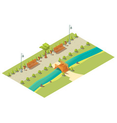 isometric 3d city park low poly design element vector image