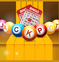 Jackpot bingo balls over golden steps vector