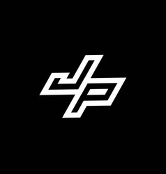 Jp logo monogram with up to down style negative vector