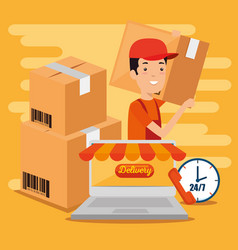 logistic services with laptop vector image