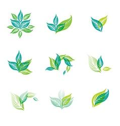 logo green set vector image