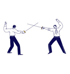 Male characters wearing aristocrat dress fencing vector
