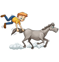 Man chasing the horse vector image