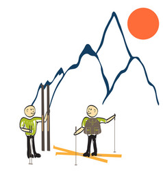 man stands on top of a mountain vector image