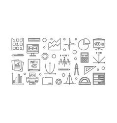 Math outline banner vector