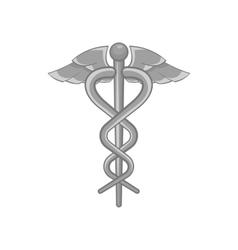 Medical emblem snake icon black monochrome style vector image