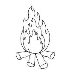 Monochrome silhouette of bonfire icon vector