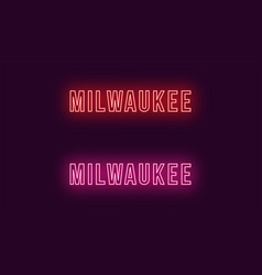 Neon name of milwaukee city in usa text vector