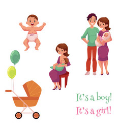 Newborn baby set happy parents and carriage vector
