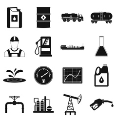 Oil industry simple icons set vector image
