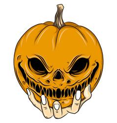 Orange head scarecrow with big smile vector