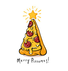 Pizza christmas tree on white vector