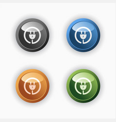 plug icon on colored round buttons vector image