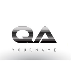 qa black and white horizontal stripes letter logo vector image