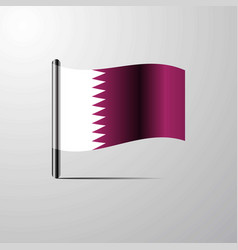 Qatar waving shiny flag design vector