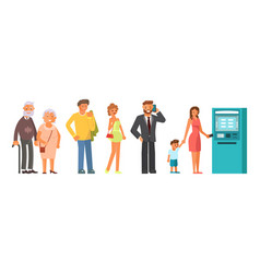 queue at the atm vector image