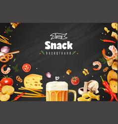 Realistic beer snacks background vector