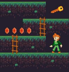 Retro videogame pixelated scenery vector
